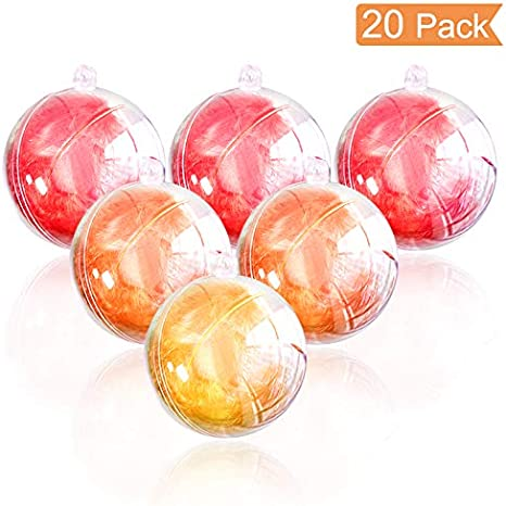 DxJ 25 Set 50 Pieces Clear Plastic Fillable Ornament DIY Bath Bomb Crafting Mol,Acrylic Clear Plastic Ornament Balls Fillable Christmas Wedding Party Decor with 5 Size 30mm 40mm 50mm 60mm 70mm