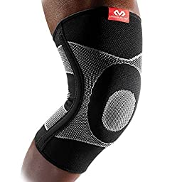 McDavid 4 Way Elastic Knee Sleeve with Gel Buttress and Stays, Large, Black