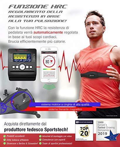 """Sportstech Ergometro ESX500 Marchio di qualità Tedesco- Eventi Video e Multiplayer App+5,5"""" Display, Volano da 12KG, Compatibile Cintura pulsazioni -Cyclette silenziosa 4 spesavip"""