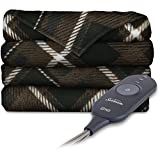 zebra heated blanket - Sunbeam Heated Electric Throw Blanket Imperial Plush, Sebastien Plaid Brown