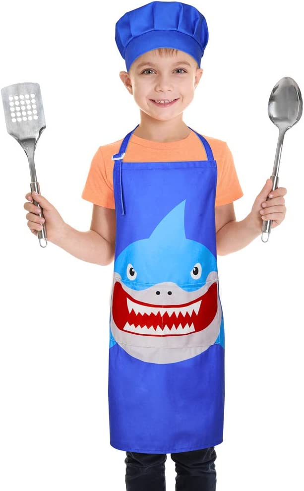Play Tailor Kids Apron for Girls Boys Cooking Baking Aprons and Chef Hat Set, Adjustable Strap with 2 Pockets, 3-12 Years