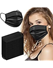 Black Disposable Face Mask For Women Men Disposable Face Masks Breathable 50pcs 3 Ply Teens Disposable Protection Mask For Adults Use For Individual And Family Indoor Outdoor Home Office Travel