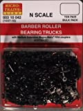 Micro-Trains N Scale - 10 Pack - #1037 - Barber Roller Bearing Trucks With Medium RDA Couplers MT-003-10-042