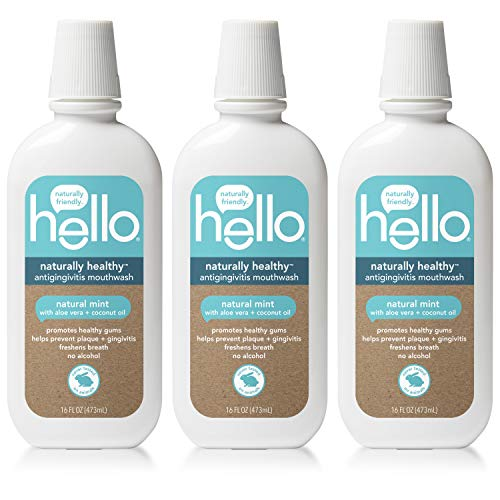 - Hello Oral Care Naturally Healthy Antigingivitis Fluoride Free and SLS Free Mouthwash with Aloe Vera and Coconut Oil, 3 Count