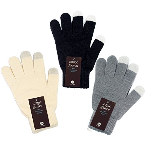White Stretchy Cotton Gloves (Unisex Touchscreen Warm Outdoor Winter Gloves ( Black + White + Grey , One Size Fits All , Touch Screen and texting , Knit Magic Stretch Mittens for Men , Women and Children ))