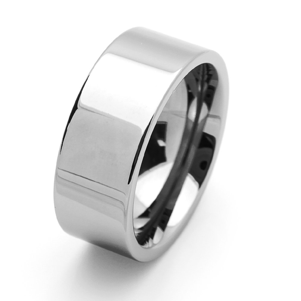 Double Accent 9MM Comfort Fit Tungsten Carbide Wedding Band Polished Shiny Flat Pipe Cut Style Tungsten Ring (5 to 15), 9