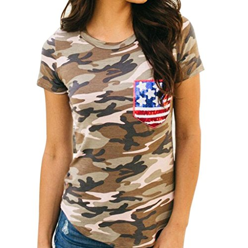 TOPUNDER Tops Women, Short Sleeve Camouflage American Flag Blouse Casual T Shirt (XL, Camouflage) -