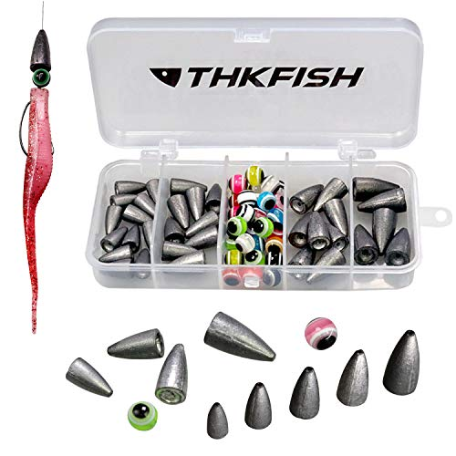 thkfish Fishing Tackle Kit, Texas Rig, Carolina Rig, Fishing Offset Hooks, Fishing Bobber Stopper, Fishing Beads, Fishing Sinkers, Fishing Rings, Fishing Swivels, Fishing Accessories Kit 64pcs ()