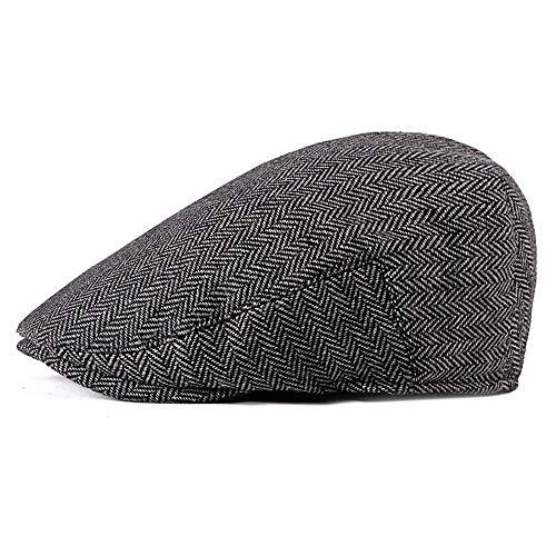 - Men Cotton Herringbone Flat Cap Tweed Newsboy Harris Ivy Vintage Gatsby Classic Duckbill Irish Cap Army Peaked Cap Hat (Color : 1, Size : Free Size)