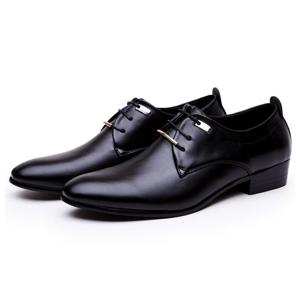 Blivener Klassisch Lackleder Derby Schuhe Formell Schnürer Smoking Lederschuhe Schnürschuhe Schwarz Größe EU 41.5