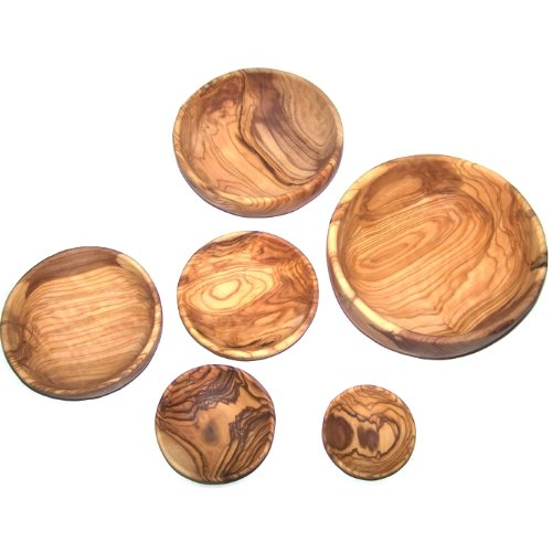 Olive Wood Handcrafted Bowls, Set of 6 sizes ( 2.8 - 7.2 Inches in diameter ) - Asfour Outlet Trademark by Holy Land Market (Image #4)