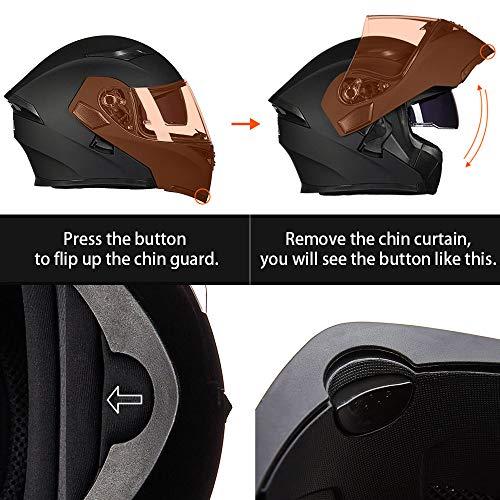 ILM Motorcycle Dual Visor Flip up Modular Full Face Helmet DOT 6 Colors (S, MATTE BLACK)