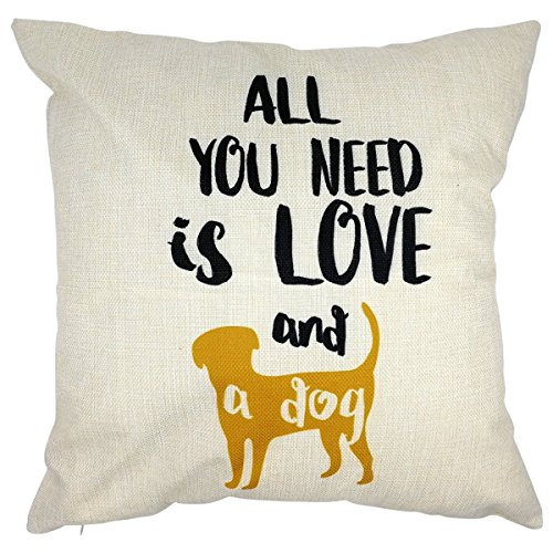 - Arundeal All You Need is Love and A Dog 18 x 18 Inch Cotton Linen Square Throw Pillow Cases Cushion Cover, Yellow Puppy