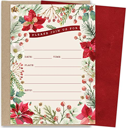 Koko Paper Co Christmas Invitations. Set of 25 Fill-in Invitations with Kraft Envelopes. Perfect for Holiday Parties, Dinners, Baby Showers or Other Events. -