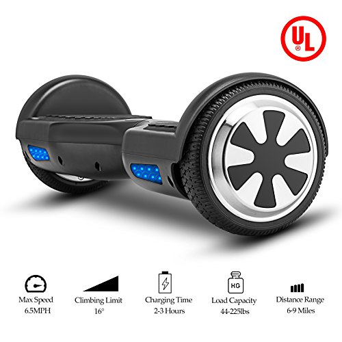VEEKO Self Balancing Scooter Black Hoverboard with LED Indicator Lights, 350W Dual Motor, UL 2272/2271 Certificate, Alloy Durable Wheels by VEEKO (Image #2)