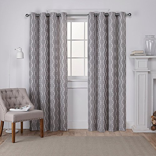 - Exclusive Home Curtains Baroque Textured Linen Look Jacquard Window Curtain Panel Pair with Grommet Top, 54x108, Ash Grey, 2 Piece