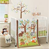 3 Piece Brown Orange Green Woodland Animals Crib Bedding Set, Newborn Forest Themed Nursery Bed Set Infant Child Cute Owls Branches Woods Fox Deer Racoon Bear Turtle Blanket Quilt, Cotton Polyester