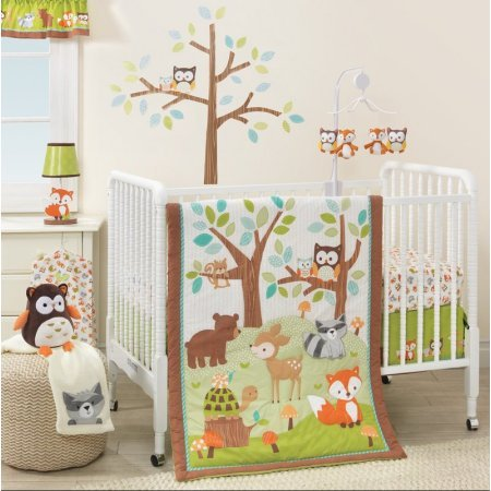 3 Piece Brown Orange Green Woodland Animals Crib Bedding Set, Newborn Forest Themed Nursery Bed Set Infant Child Cute Owls Branches Woods Fox Deer Racoon Bear Turtle Blanket Quilt, Cotton Polyester by ON