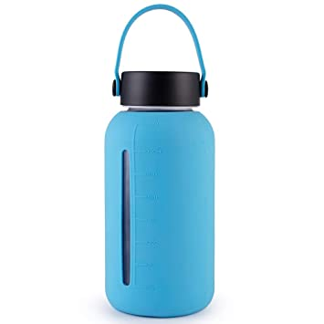 MIU COLOR Botella de Cristal Portátil Botella de Vidrio, 900 ML Botella de Agua con