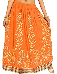 Exotic India Printed Long Skirt with Embellished Patch