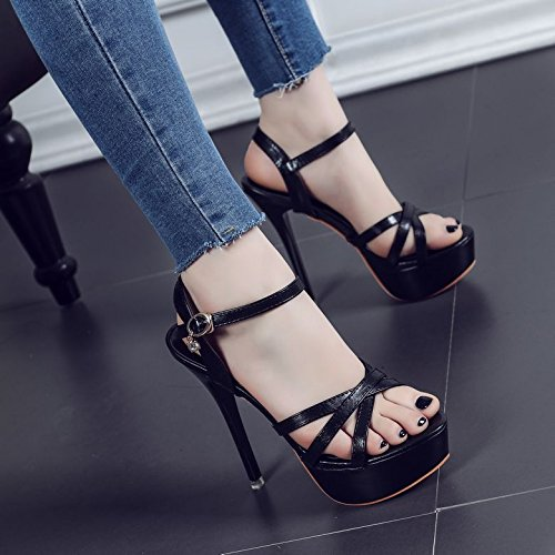 Avec D'Été De Tous Mot Blanc Minces Noir 63 Haut Sandales 1769 Toe Match ZHUDJ Buckle Talon Chaussures Black wqIg1cAWxS