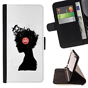 Momo Phone Case / Flip Funda de Cuero Case Cover - Muchacha de la música Pensamiento Pensamiento Profundo Cuervo - HTC DESIRE 816