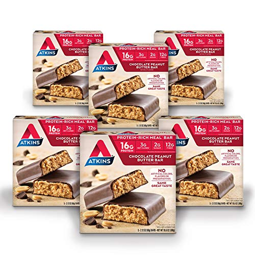 Atkins Protein-Rich Meal Bar, Chocolate Peanut Butter, Keto Friendly, 30 Count (Value Pack)