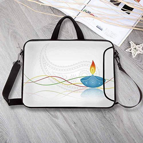 - Diwali Custom Neoprene Laptop Bag,Tribal Art Religious Festive Fire Candle with Modern Paisley Backdrop Print Laptop Bag for Men Women Students,8.7