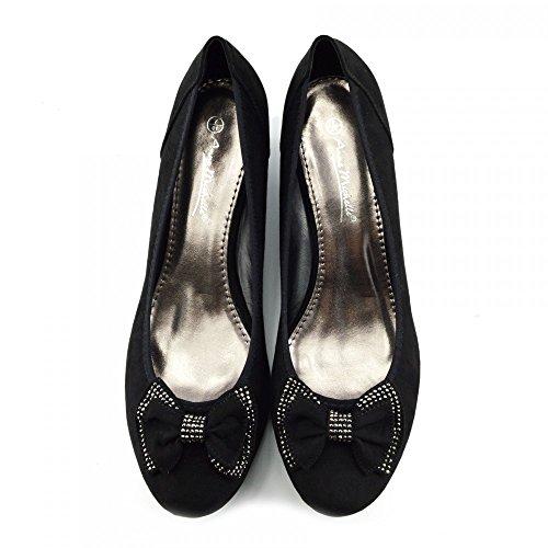 Kick Footwear - Womens Faux Suede Low Heel Wedge Casual Work POSH Court Shoes Black - 2 coISug