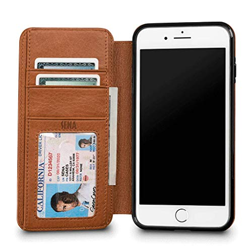 (Sena Heritage Walletbook, Drop safe leather wallet book case for the iPhone 7 Plus - Cognac )