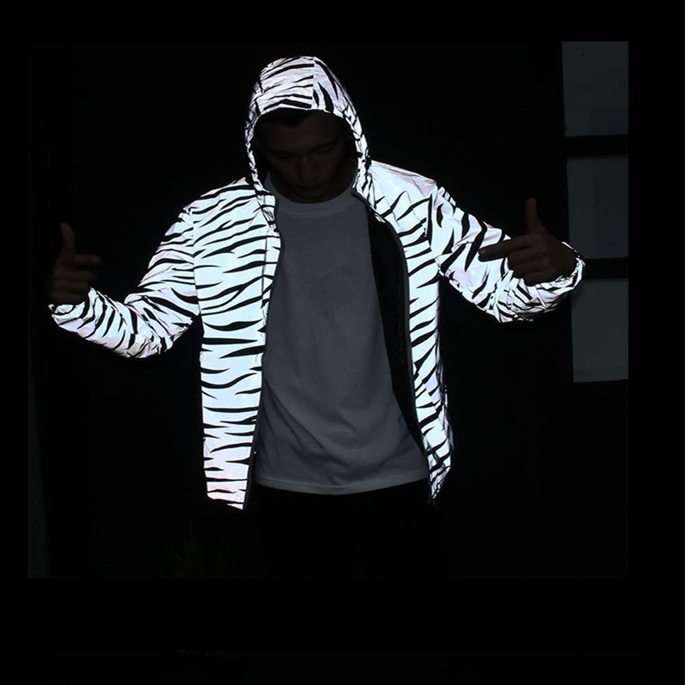 DSstyles Unisex Waterproof Zebra Stripes Printing Reflective Double Layers Jacket
