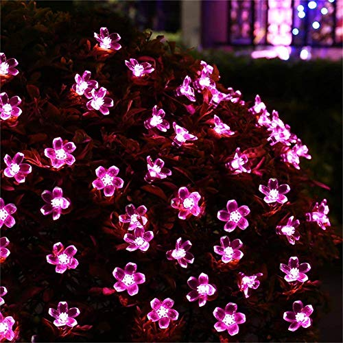 (Aibelly Solar Powered Fairy String Lights 23ft Waterproof 50 LEDs Beads Flowers String Lamp Home, Patio, Garden Gate, Yard, Wedding, Holiday, Party, Halloween, Christmas Decoration)