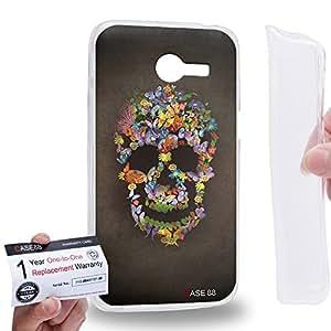 Case88 [Asus Zenfone 4 A400CG] Gel TPU Carcasa/Funda & Tarjeta de garantía - Art Blooming Skulls Floral Art1908