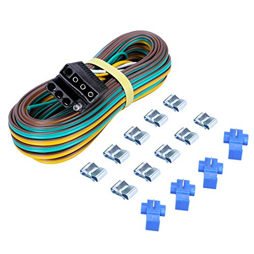 (CZC AUTO Trailer Wiring Harness Kit 4-Way Wishbone Style, Y Style 18AWG Pure Copper Core Color Coded Wire with Standard 4-pin Flat Plug Connector, 4' Female and 25' Male for 12V Trailer Boat Marine)