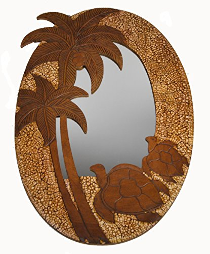 HAND CARVED WOOD and EGG SHELL PALM TREE TURTLE MIRROR WALL ART DECOR ()