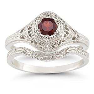 antique style ruby wedding ring set - Ruby Wedding Ring Sets