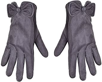 Cell Phone Gloves for Women Iphone Glove with Bow Thick Hand Warmers Mittens,Dark Gray,One Size