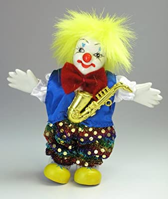 """Clown Figurine - Yellow Hair and Saxaphone, Hand-Painted, Posable, Porcelain, 6"""" Height"""