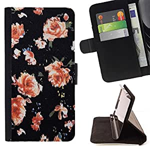 Momo Phone Case / Flip Funda de Cuero Case Cover - Wallpaper Roses Naranja Rosa - Samsung Galaxy Core Prime
