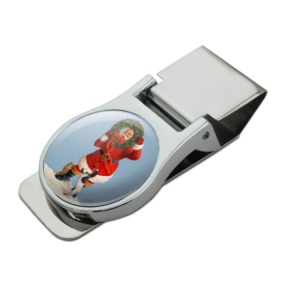 Christmas Holiday Santa Claus with Dog Cat Wreath Satin Chrome Plated Metal Money Clip