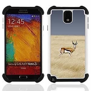 """SAMSUNG Galaxy Note 3 III / N9000 / N9005 - 3 en 1 impreso colorido de Altas Prestaciones PC Funda chaqueta Negro cubierta gel silicona suave (Antílope Campo África Presa Cielo Naturaleza"""")"""