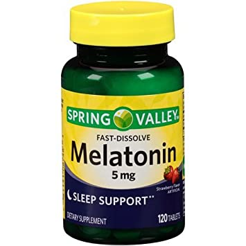 Spring Valley Melatonin Strawberry Flavor Dietary Supplement Fast-Dissolve Tablets, 5mg, 120 count