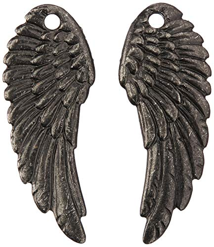 TierraCast Angel Wing Charms, 28mm, Black Finish Pewter, 2-Pack