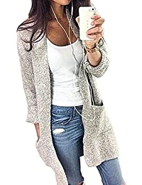 Women's Long Sleeve Open Front Cardigans Mid Length Loose Knit Cardigan Sweater