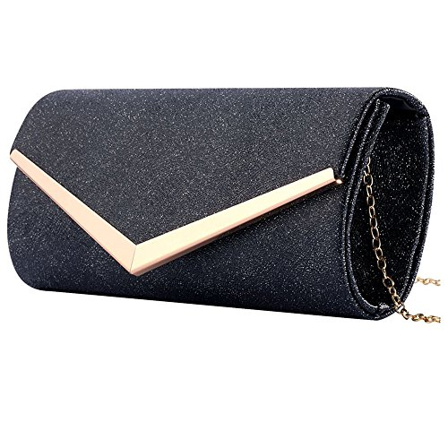 Women Envelope Evening Bag Clutches Bag Handbags Shouder Bags Wedding Purse with Detachable Chain (black) by Hibags (Image #3)