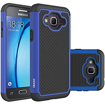 Galaxy J3 Case, Galaxy Amp Prime Case, Galaxy Express Prime Case - OEAGO Shock-Absorption Dual Layer Defender Protective Case Cover For Samsung Galaxy J3 (2016) / Amp Prime / Express Prime - Blue