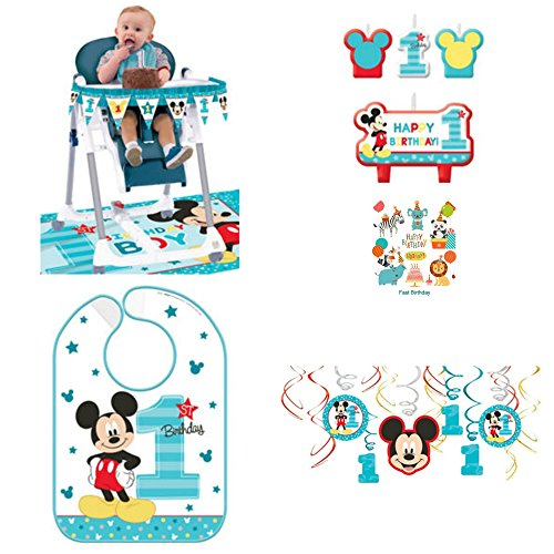 1st Birthday Mickey Mouse Birthday Party Decorations Supply Pack Includes Hanging Decorations, High Chair Decorations, Bib, and Candle Set Party Supplies Mickey Fun to be One!]()