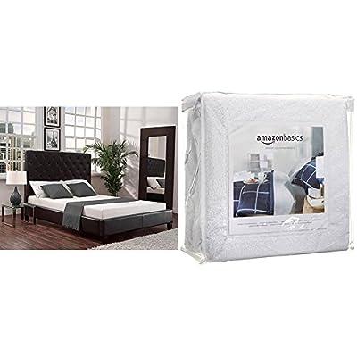 Signature Sleep Memoir 6 Inch Memory Foam Mattress with CertiPUR-US certified foam, Twin with AmazonBasics Hypoallergenic Vinyl-Free Waterproof Mattress Protector, Twin