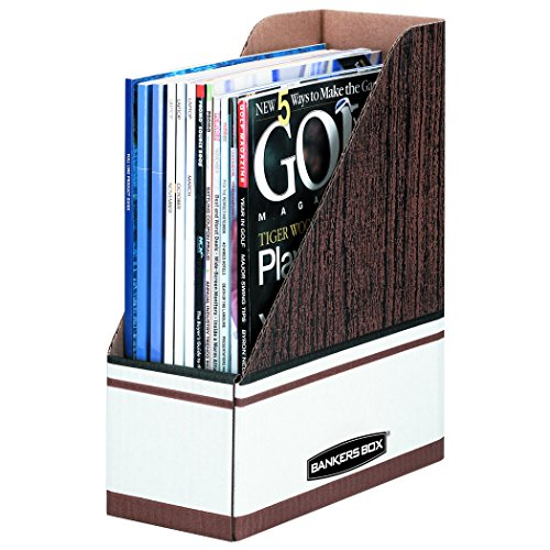 Fellowes Banker Boxes - Bankers Box 07223 Corrugated Cardboard Magazine File, 4 x 9 x 11 1/2, Wood Grain (Case of 12)