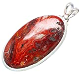 "Ana Silver Co Huge Crazy Lace Agate 925 Sterling Silver Pendant 2 1/4"" - Handmade Fashion Gemstone Jewelry PD606910"